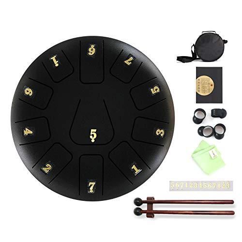 jmk Steel Pan Steel Drum - Tambor de lengua (20,3 cm, 11 tonos), color negro