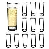 Amisglass Schnapsgläser 10cl, Schnapsglas aus Hochwertiges Glas 12 Stück, Shotgläser mit Schwerer Basis, Likörgläser Klassisches Europäisches Design, Perfekt für Spirituosen und Wodka