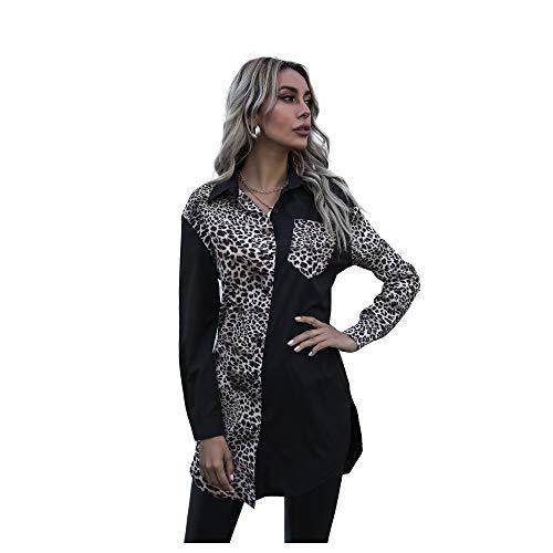 Camisas Florales de Leopardo para Mujer, Vestido Informal, Manga Larga, Liso, Suelto, Superior, cárdigan...