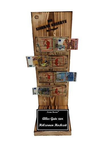Alles Gute zur Hölzernen Hochzeit - Eiserne Reserve ® Mausefalle Geldgeschenk - Geschenk zur Hölzernen-Hochzeit - ausgefallene originelle lustige Geschenk- Geld verschenken