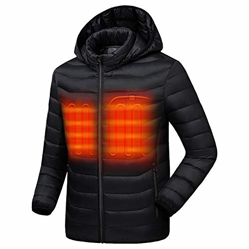 Venustas [2020 Upgrade] Heated Jacket with Battery Pack 5V (Unisex), Heated Coat for Women and Men with Detachable Hood Black