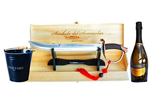 YesEatIs - Sciabola del Sommelier - Starter Kit con Secchiello per Ghiaccio e Bottiglia di Bollicine Italiane (Spumante Extra Dry)