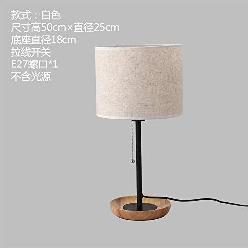 YU-K Américain moderne, minimaliste et confortable tissu nordique confortable chambre à coucher couvre lit bureau à LED lampe de table lampes en bois de fer, 25 * 50cm, blanc, pas de source optique