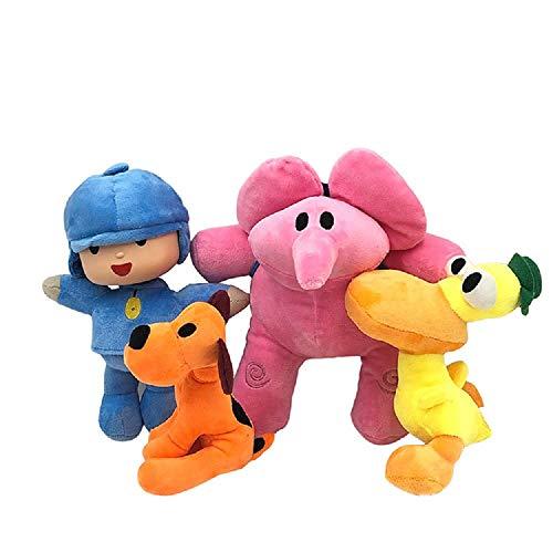 Modi Pocoyo Plush 5.5' - 12' Pocoyo Loula Elly Pato Doll Stuffed Animals Soft Figure Anime Collection Toy (4 PCS)