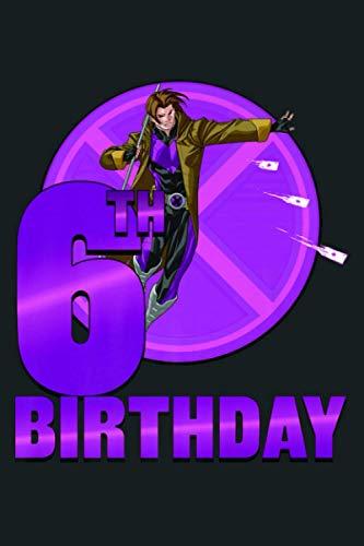 Marvel X Men Gambit 6Th Birthday Badge Premium: Notebook Planner -6x9 inch Daily Planner Journal, To Do List...