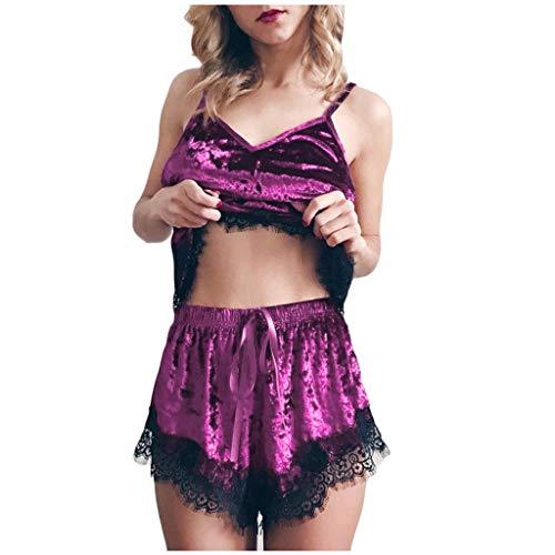 Dorical Damen Babydoll Negligee Nachthemd Kleid Spitze V Ausschnitt Lingerie Dessous Nachtwäsche mit G-String Sleepwear Sexy BH Babydoll Nachthemd für Damen Spitze Nachtkleid Dessous(Z2-Lila,XXL)