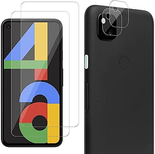Carantee Panzerglas Schutzfolie Kompatibel mit Google Pixel 4A, 2 Stück Panzerglasfolie + 2 Stück Kamera Folie, 9H gehärtetes Glas, HD Bildschirmschutzfolie, [Anti-Kratzen] [Einfacher Montage]