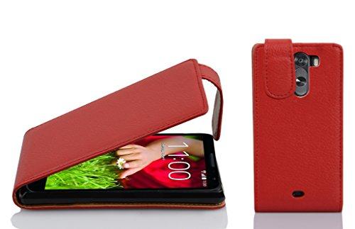 Cadorabo Hülle für LG G2 Mini in Inferno ROT - Handyhülle im Flip Design aus Strukturiertem Kunstleder - Hülle Cover Schutzhülle Etui Tasche Book Klapp Style