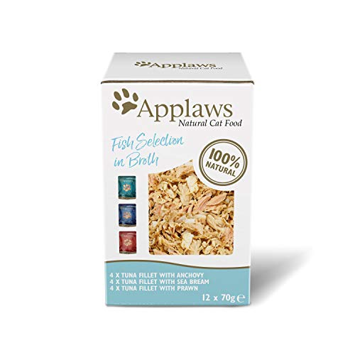 Applaws 100% Natural Wet Cat Food, Fish Selection in Broth Pouch, 12 x 70 g Pouches