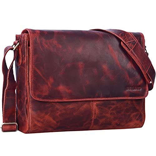 STILORD 'Oskar' Umhängetasche Laptoptasche 15 Zoll aus echtem Leder Messenger Bag Business Vintage Look, Farbe:Kara - rot