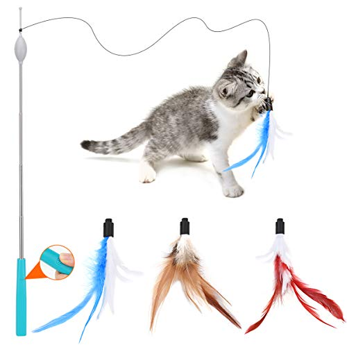 Pawaboo Electric Cat Feather Teaser Wand Toy, Adjustable Feather Cat Toy Wand Interactive Design with Easy One-Button Operation and Telescopic Rod Durable & Lightweight, Blue + Brown + Red
