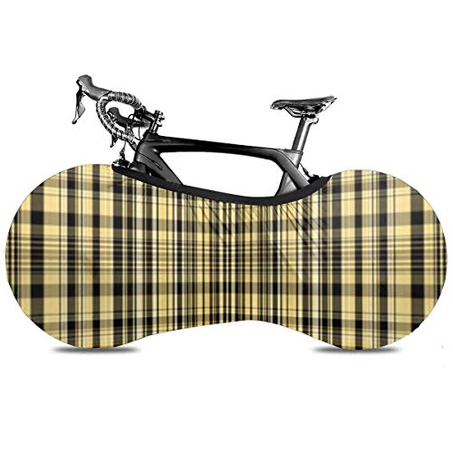 Navidad lindo de dibujos animados pingüinos portátil cubierta de bicicleta interior anti polvo de alta elasticidad de la rueda de la cubierta protectora de la bicicleta Rip Stop neumático carretera mtb bolsa de almacenamiento, Cuadros amarillos y negros, talla única