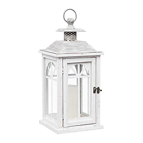 Antique White Wood Lantern with Gray Metal Top and Glass Panes and Door | Works as Rustic Home Decoration or a Unique Centerpiece for Parties, Weddings, and Briday Showers