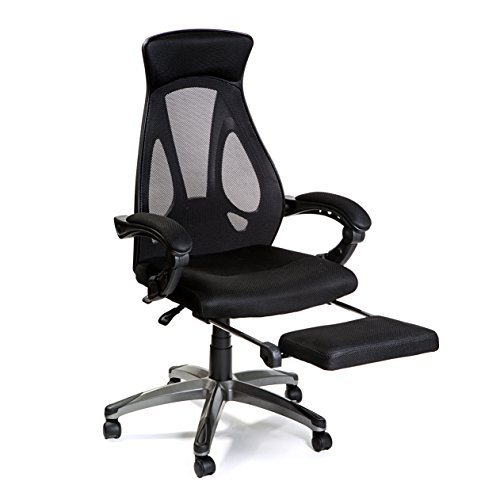HULLR High Back Mesh Office Chair with Foot Rest, Ergonomic Task...