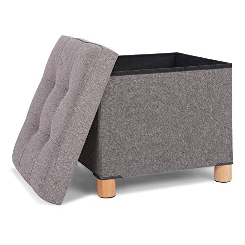 WEIZI Footstool Storage Chest Box Cube Makeup Stool Chair Seat Footrest Stool Ottoman Stool Box Low Stool with Cushions Removable Lid Storage Blanket Toy Box for Bedroom Living Room Gray