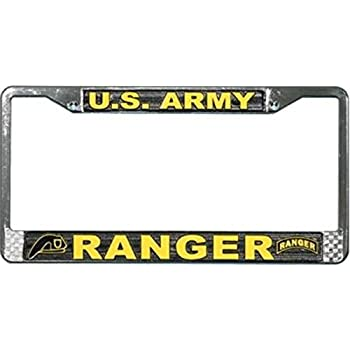 75th Ranger Regiment US Army Black License Plate Frame Holder 2 Hole Bracket Standard Size for US Vehicles Aluminum Metal License Plate Cover with Screw
