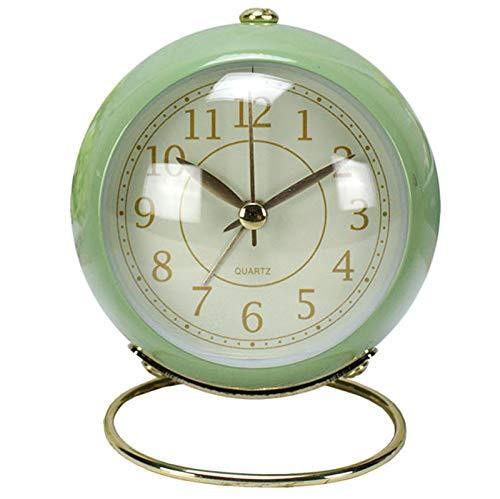 JX-PEP Reloj Despertador con Campana de cabecera, silencioso, sin tictac, para Viajes, Despertador, con luz Nocturna, Reloj de Cuarzo para Estudiantes/niños/niñas, Funciona con Pilas, Verde