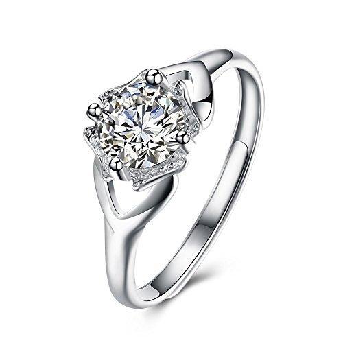 S925anello in argento Sterling da sposa per le donne anello di fidanzamento e matrimonio principessa anello regolabile