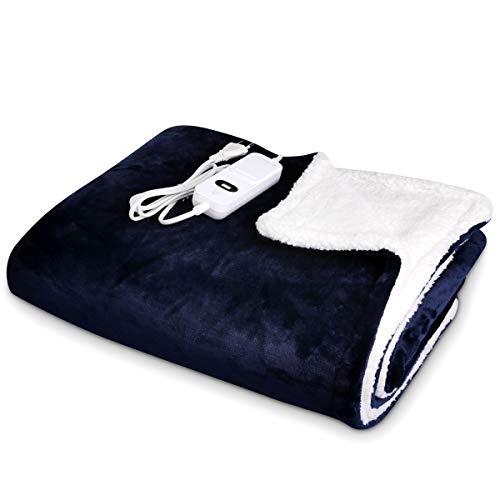Navaris Manta eléctrica para hombros cuello y brazos - Poncho eléctrico con forma de U y mando - Manta térmica lavable para espalda - Azul y blanco