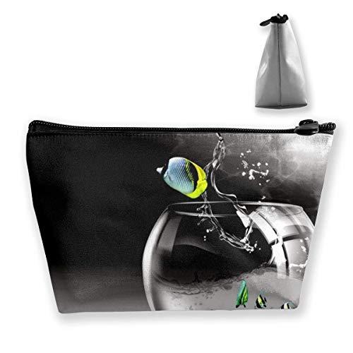 Grau Coole Aquarium Schminktasche Große Trapez Aufbewahrung Reisetasche Waschen Kosmetikbeutel Stifthalter Reißverschluss Wasserdicht