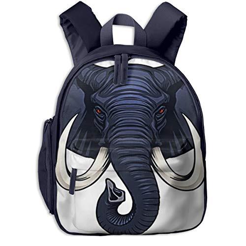 Zainetti per Bambini Zaino Bambino Satchel Scuola Asilo Zaino per Bambini Carino Primario Piccolo Asilo Nido Ragazzi Ragazze 2-7 Anni Zanna Elefante Testa Mammut