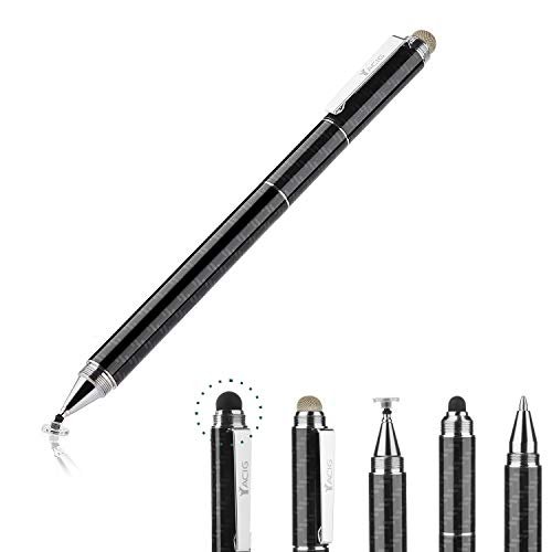 Yacig Capacitive Stylus Pen, 4-in-1 High Sensitivity and Precision Touch Screen Stylus Clear Disc Tip,Black Rubber Tip &Mesh Fiber Tip Compatible with Universal Touch Screen Device,Black