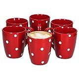 VAN WELL Emily - Juego de 6 Tazas de café (390 ml, gres y gres), diseño de Lunares, Color Rojo y Blanco