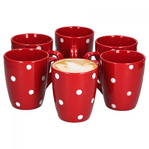 Van Well Emily 6er Set Kaffeebecher rot-weiß gepunktet, 390 ml, Steingut, Tasse, Jumbotasse