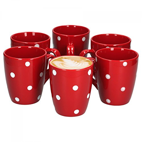 VAN WELL Emily Set of 6 Coffee Mugs Red and White Spots 390 ml Stoneware Mug Jumbo Mug