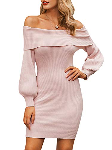 Miessial Women's Sexy Off Shoulder Sweater Dresses Puff Sleeve Knitted Slim Short Sheath Dress Pink 8