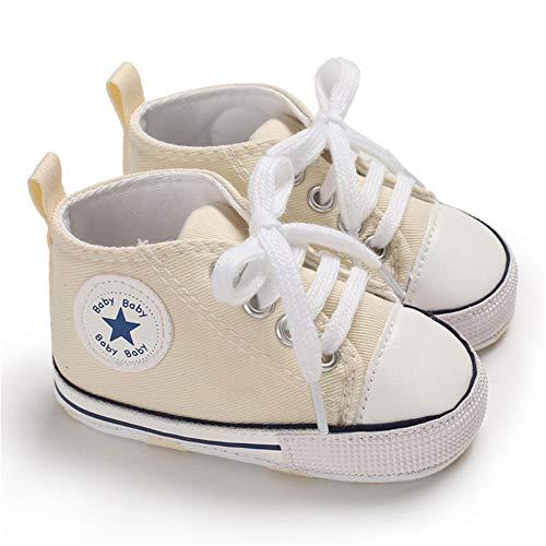 Babycute Lauflernschuhe aus Segeltuch, weiche Sohle, Freizeit-Sneaker für Babys, Jungen und Mädchen, zum Schnüren, Beige - A1 Beige - Größe: 0-6 Monate