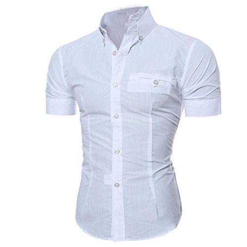 URSING Herren Kurzarm Hemd Herrenhemd Casual Style Männer Classic Einfarbig Slim Fit T-Shirt mit Polokragen Sommer Tops Pullover Bluse mit Knopf Sommerhemd Polohemd Streetwear (L, Weiß)
