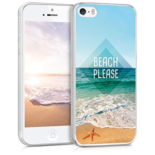 kwmobile Custodia Compatibile con Apple iPhone SE (1.Gen 2016) / 5 / 5S - Cover in Silicone TPU Trasparente - Back Case Beach Sea And Star Blu/Turchese/Marrone