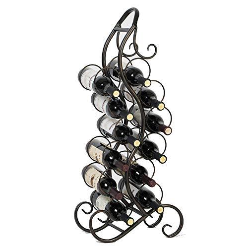 Chyuanhua Weinregal 12 Flaschen Wein Und EIN Freistehendes Bodenrahmen Metall Flaschenweingestell Zu Verhindern Walz Weinregal Zur Wandmontage (Color : Black, Size : 84x37x18cm)