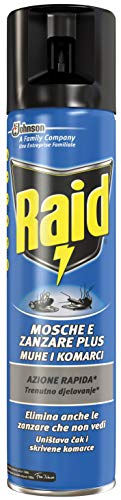 Raid Mosche & Zanzare Insetticida Spray - 3 pezzi da 400 ml...