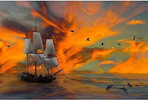 ZYYSYZSH Cartón 1000 Piezas Rompecabezas HD para Adultos Juego Educativo Challenge Dream Sky Sailing / (38x26cm)