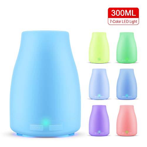 Difusores de Aceite Esencial de 300ml, Humidificador de Aire, Difusor de Aroma, Lámpara Aromaterapia Eléctrica, 7 Colores Ligera LED