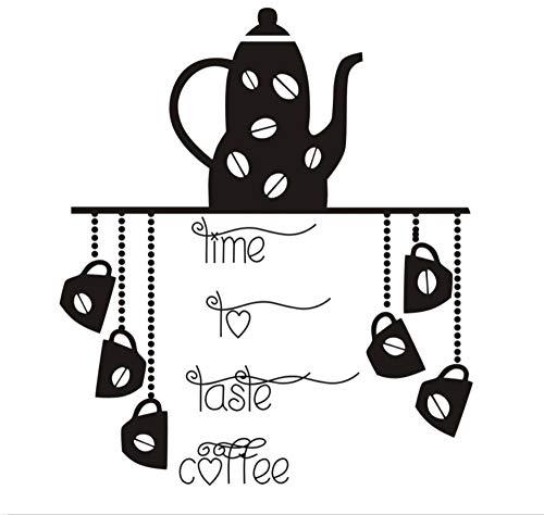 Hlnaughty tijd om te proeven koffie keuken muurstickers theepot koffie beker muur aquarel verwijderbare stickers decoratie Art Vinyl 44Cmx51Cm