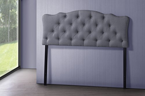 Baxton Studio Wholesale Interiors Rita Modern and Contemporary Fabric Upholstered Button-Tufted Scalloped Headboard, Full, Grey