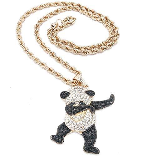AdorabFruit Présent Pendentif Regalos De La Joyería del Oro del Rhinestone del Color De Lujo Baile Divertido De La Panda Animal Colgante hacia Fuera Helado Roca For Hombre Collares For Las