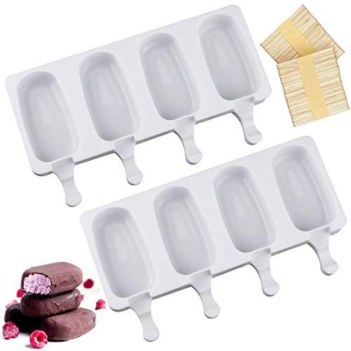 ZSWQ Eisformen Silikon-Form für 4 EIS am Stiel, je 70 ml, mit 10 Holzstielen, Eisformen Popsicle Formen BPA Frei, 2pcs