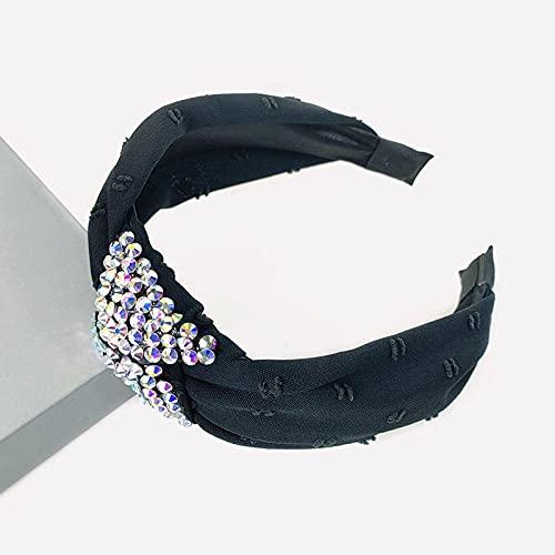XINDUO Hairbands Nudo Cruzado Diadema,Diadema de Taladro de Agua de Tela Retro de Moda-Negro,Diadema para Mujer Turbante Bohemia