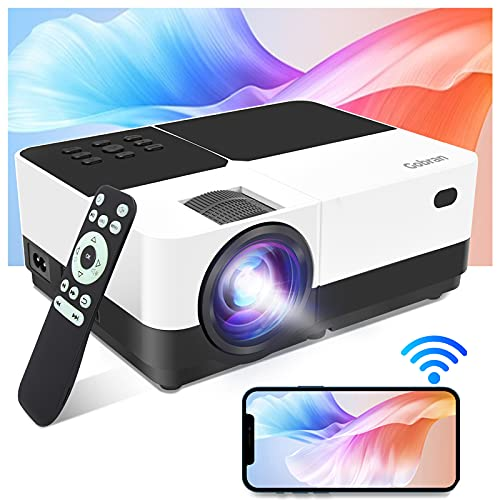 Vidéoprojecteur WiFi Supporte 1080P 6000 Lumens,Gobran Rétroprojecteur Screen Mirroring,Mini Projecteur Video Audio Projecteur LED Home Cinéma Présentation PPT,Compatible avec HDMI/USB/SD/AV/VGA