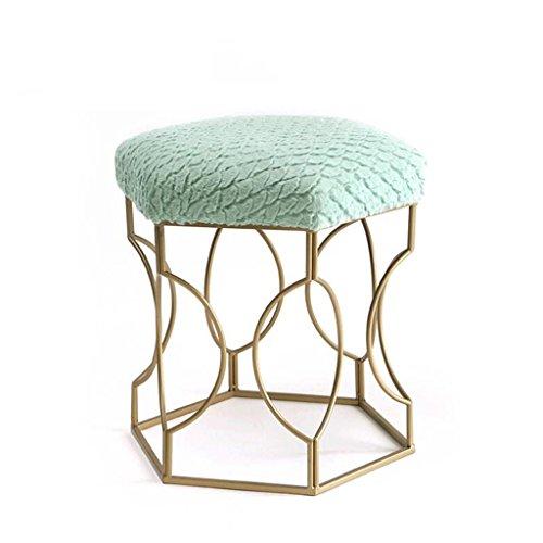 Tabouret de tabouret Golden en peluche Tabouret de maquillage en métal en métal Tabouret de dressage Chaise de salle à manger Tabouret de table en bois (Couleur : Vert)
