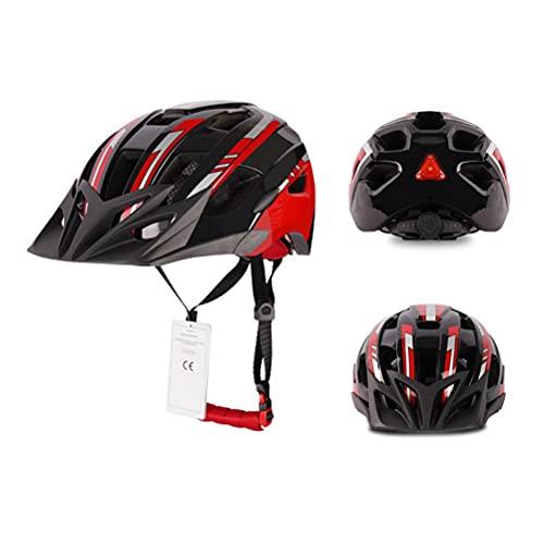 WINBST Casco de ciclismo, casco de bicicleta de montaña con luz LED, gorra de seguridad para hombres y mujeres, para correr, tiempo libre, equitación, tamaño ajustable 53 – 63 cm