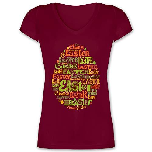 Ostern - Osterei Typografie bunt - XS - Bordeauxrot - Ostereier - XO1525 - Damen T-Shirt mit V-Ausschnitt