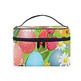 Trousse per trucchi astratto arcobaleno colorato uovo di Pasqua portatile senza cuciture con cerniera