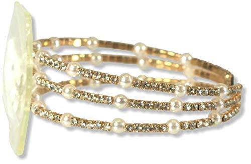 Floral Corsage Bracelet in Gold, Crystal & Pearl Windsor Collection