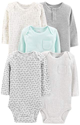 Simple Joys by Carter's Baby 5-Pack Neutral Long-Sleeve Bodysuit, Grey/Blue Stripe, 24 Months
