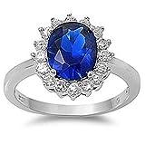 kleine Schätze - Damen-Ring / Verlobungsring - 925 Sterlingsilber - Blau Saphir - Zirkonia (Inspiriert durch Prinzessin Diana)